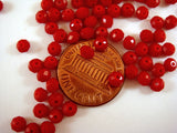 4x3mm Faceted Opaque Red Glass Rondelle Beads