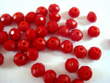 4x3mm Red Faceted Glass Beads