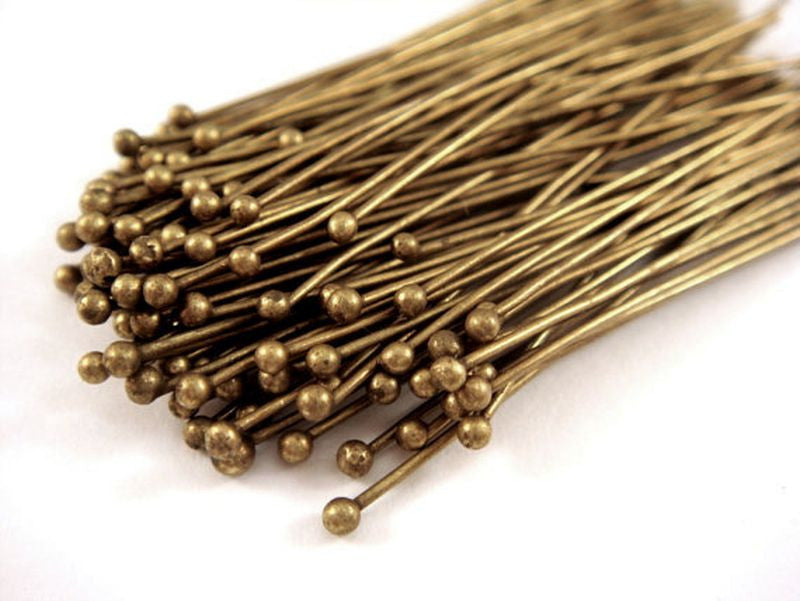 Ball Pins, Antique Bronze Finished Brass, 2 in./50mm, 23-24g - 100 pcs. - F4008BHP-AB2100