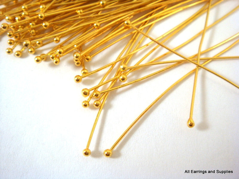 Ball Pins, Gold Plated Brass NF, 2 in./50mm, 23-24g - 50 pcs. - F4028BHP-G50