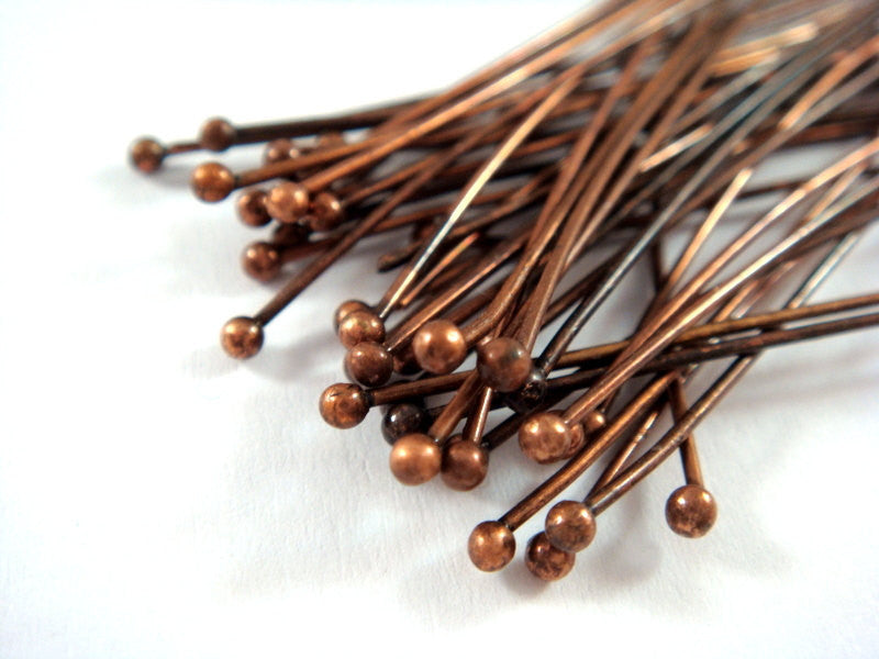 Ball Pins, Antique Copper Finished Brass, 2.25 in./57mm, 20-21g - 100 pcs. - F4130BHP-R100
