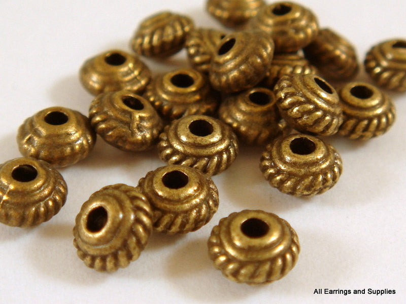 Antique Bronze Beads, Small Rope Detail Saucer Plated Metal Spacers LF/NF/CF 5mm - 25 pcs. - M7043-AB25