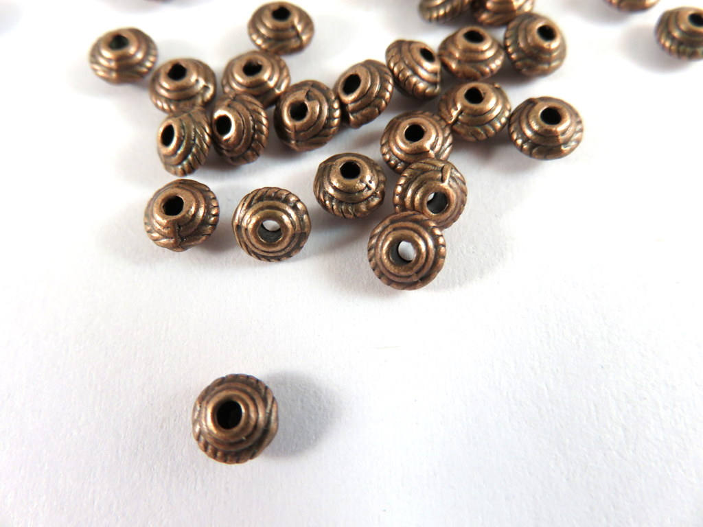 Antique Copper Beads, Small Rope Detail Saucer Plated Metal Spacers LF/NF/CF 5mm - 25 pcs. - M7043-AC25