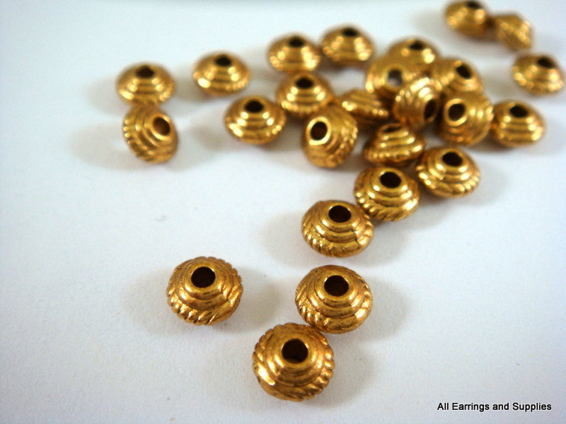 Antique Gold Beads, Small Rope Detail Saucer Plated Metal Spacers LF/CF 5mm - 25 pcs. - M7043-AG25