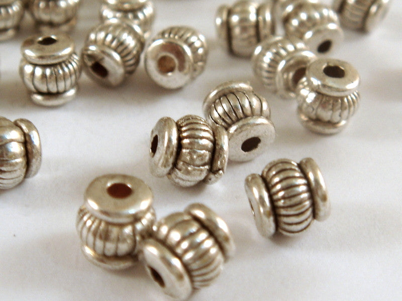 Antique Silver Beads, Ribbed Lantern Barrel Plated Metal Spacers LF/CF 5x4mm - 25 pcs. - M7062-AS25
