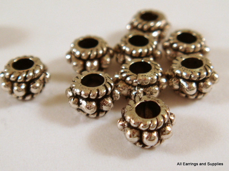 Antique Silver Beads, Large Hole Dotted Rondelle Plated Metal Spacers LF/NF/CF 5x3mm - 20 pcs. - M7042-AS20