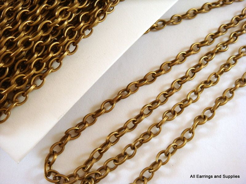 Antique Bronze Chain, Round Rolo Style LF/NF, Unsoldered, 5mm - 25 feet - STR9053CH-AB25
