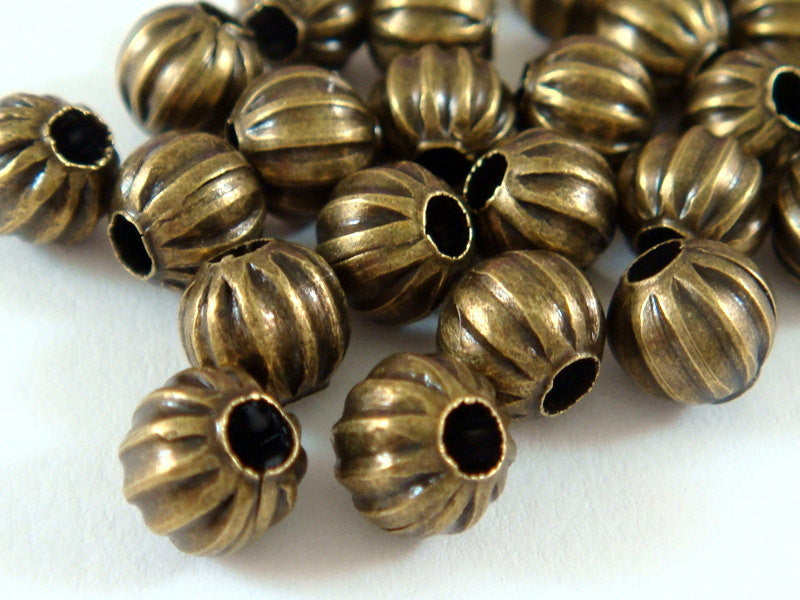 Antique Bronze Beads, Round Ribbed Plated Metal Melon Spacers NF 6mm - 50 pcs. - M7011-AB50