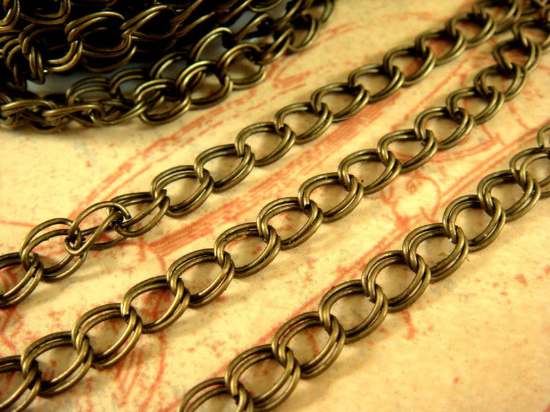 Antique Bronze Chain, Double Link Curb Style, Unsoldered, 6x5mm - 25 feet - STR9022CH-AB25