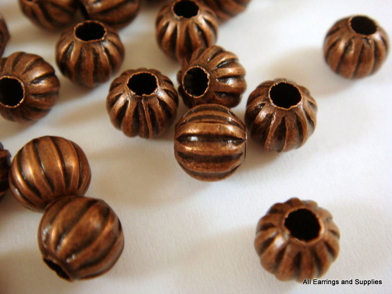 Antique Copper Beads, Round Ribbed Metal Melon Plated Metal Spacers NF 6mm - 50 pcs. - M7011-AC50