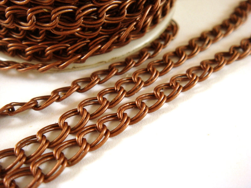 Antique Copper Chain, Double Link Curb Style, Unsoldered, 6x5mm - 25 feet - STR9022CH-AC25