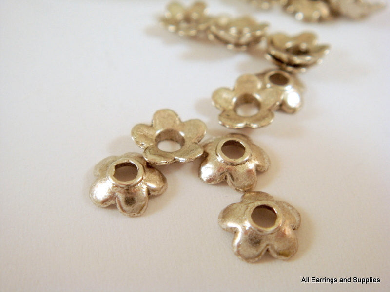 6mm Antique Silver Flower Bead Caps