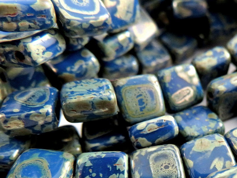 Cobalt Blue Czechmates, Opaque Two Hole Czech Glass Picasso Square Tile Beads 6mm - 25 pcs. - G6081-CBP25