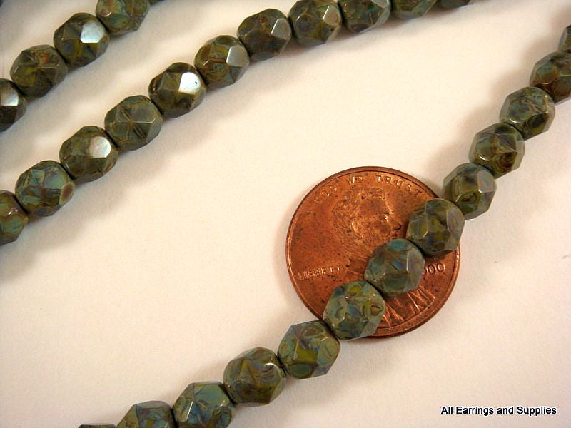 6mm Opaque Faceted Olive Picasso Beads