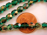 6mm Czech Glass Viridian Green Celsian Czech Glass Beads