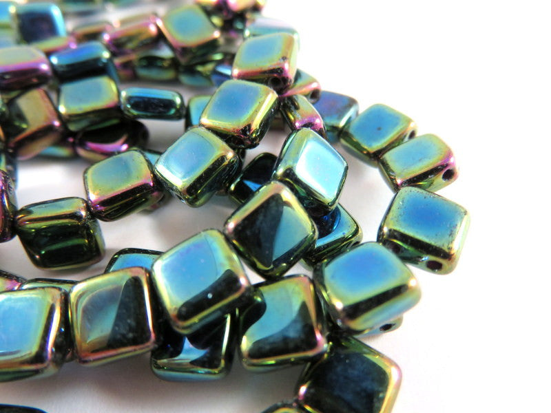 Peacock Blue Czechmates, Opaque Iridescent Two Hole Czech Glass Square Tile Beads 6mm - 25 pcs. - G6081-GPC25