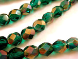 6mm Dark Green Glass Beads