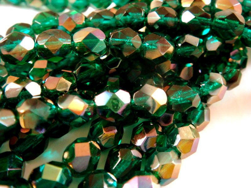 6mm Dark Green Transparent Czech Beads