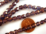 6mm Faceted Round Czech Glass Purple Gold Beads