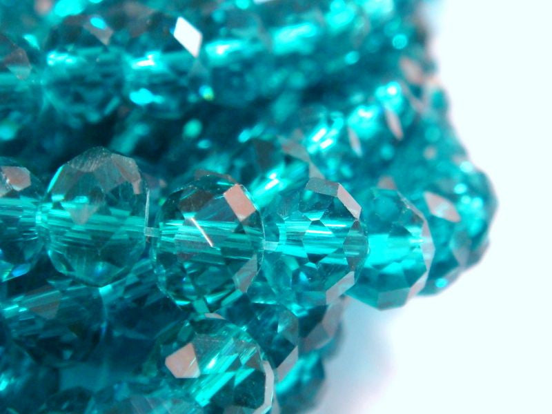 6mm Faceted Teal Glass Rondelles