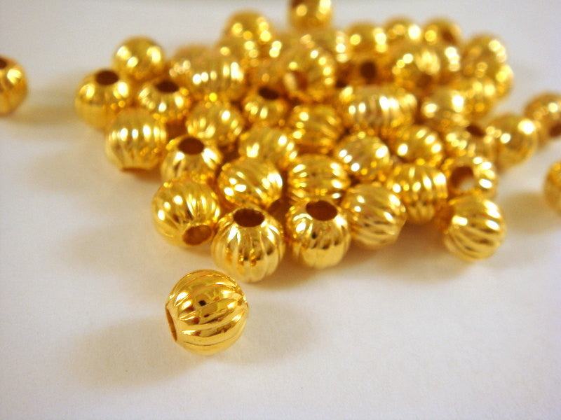 Gold Plated Beads, Round Ribbed Melon Plated Metal Spacers 6mm - 50 pcs. - M7011-G50