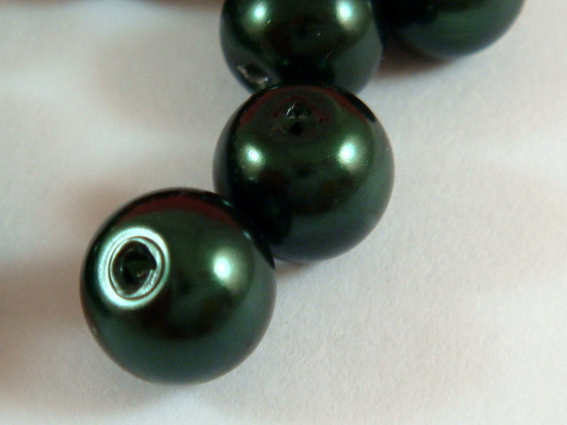 Dark Green Pearls, Smooth Round Glass Beads 6mm - 74 pcs. - 5374