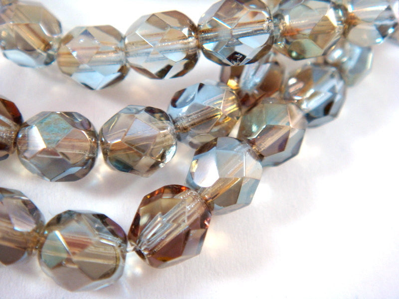 6mm Light Sapphire Blue Faceted Glass Beads