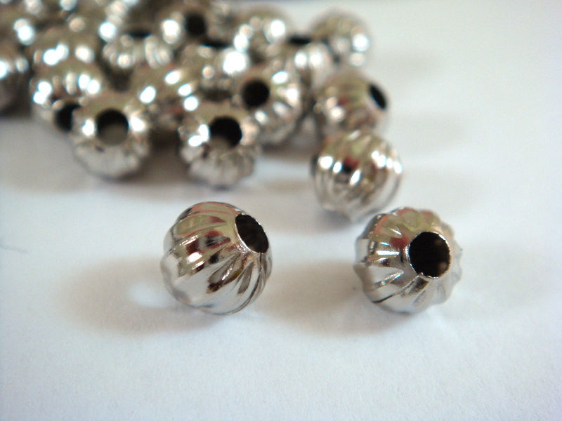 Platinum Color Beads, Round Ribbed Melon Nickel Plated Metal Spacers 6mm - 50 pcs. - M7011-N50