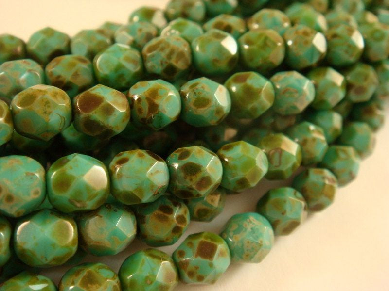 6mm Opaque Czech Glass Turquoise Picasso Faceted Round Beads