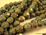 6mm Opaque Olive Green Glass Beads