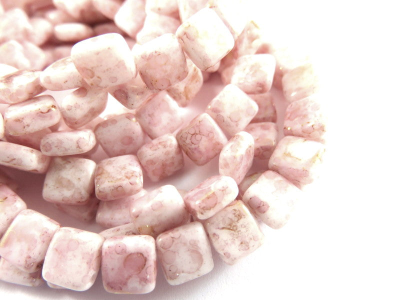 White Czechmates, Opaque Pink Picasso Two Hole Czech Glass Square Tile Beads 6mm - 25 pcs. - G6081-WTP25