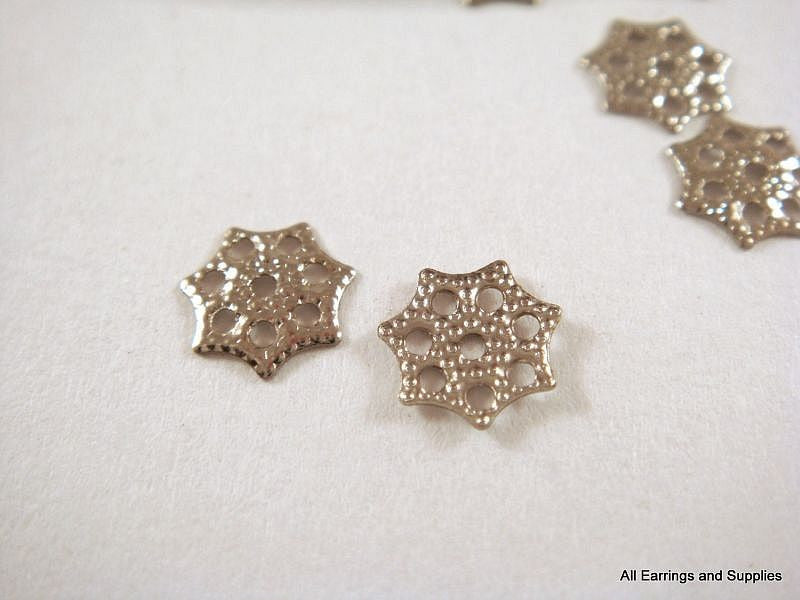 Platinum Finish Bead Caps, Tiny Plated Silver Snowflakes 6mm - 100 pcs. - F4090BC-P6mm100
