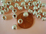 6mm Round Corrugated Silver Spacers