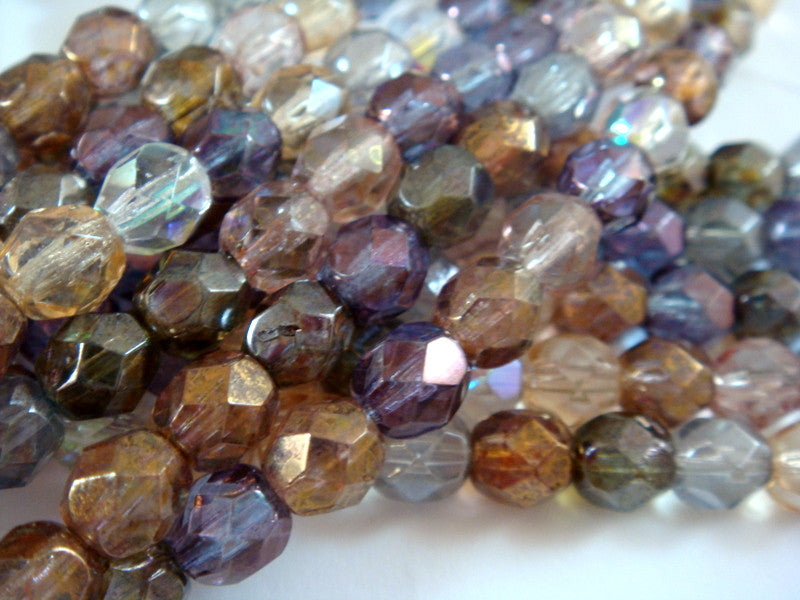 Luster Rounds, Czech Glass Transparent Faceted Bead Mix 6mm - 25 pcs. - G6035-LM25