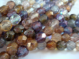 6mm Round Faceted Czech Glass Luster Bead Mix