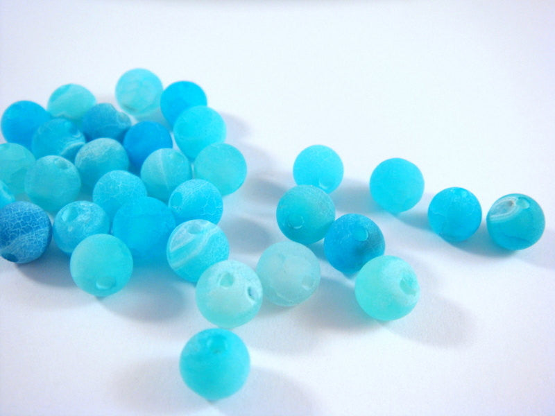 6mm Round Light Blue Agate Crackle Beads