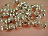 6mm Round Ribbed Silver Melon Beads