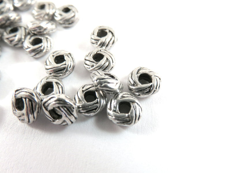 Antique Silver Beads, Large Hole Carved Donut Plated Metal Spacers LF/NF 6x3mm - 25 pcs. - M7071-AS25