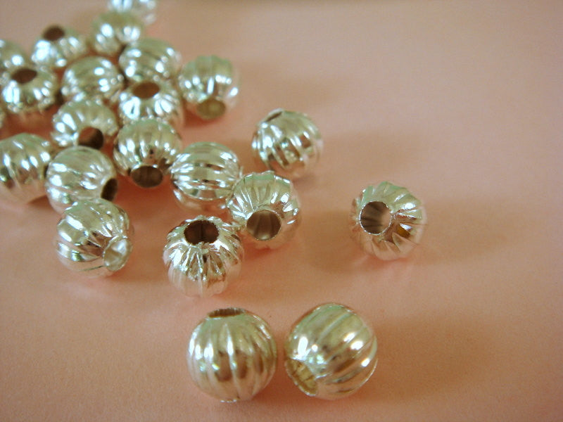 Silver Beads, Round Ribbed Melon Plated Metal Spacers NF 6mm - 50 pcs. - M7011-S50
