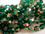 6mm Viridian Celsian Faceted Round Czech Glass Beads