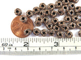 6x3mm Antique Copper Carved Metal Donut Spacer Beads