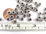 6x3mm Antique Silver Carved Metal Donut Spacer Beads