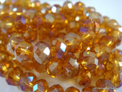 6x4mm Amber AB Faceted Glass Beads