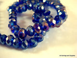 6x4mm Dark Blue AB Faceted Beads