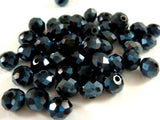 6x4mm Opaque Black AB Glass Beads