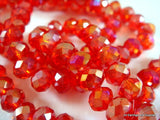 6x4mm Red Glass Rondelles