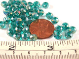 6x4mm Teal Green Transparent Faceted Glass Rondelle Beads