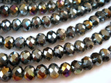 6x4mm Transparent Faceted Gray AB Glass Rondelles