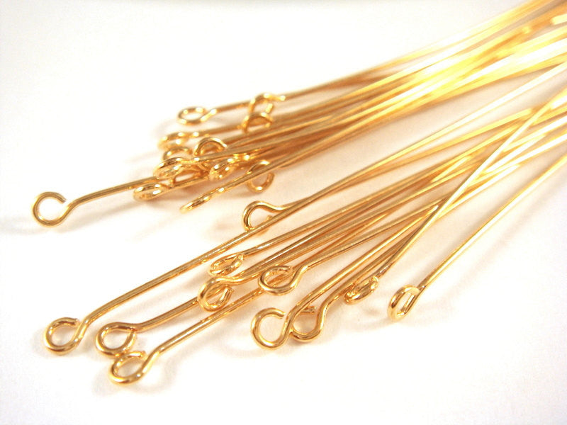 Eye Pins, Gold Plated Brass, 3 in./7.6cm, 21g - 25 pcs. - F4002EP-G325