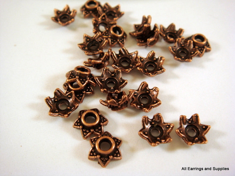 Antique Copper Bead Caps, Six Point Dotted Stars 7x3mm - 25 pcs. - 6017-11